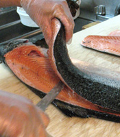 Salmon Being Filleted