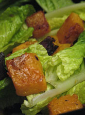 Winter Salad With Roasted Butternut Squash Croutons and Pancetta