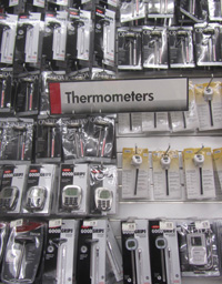 Large Thermometer Selection at a Retail Store