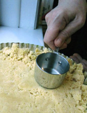 Patting the Cornmeal Dough Into a Tart Pan
