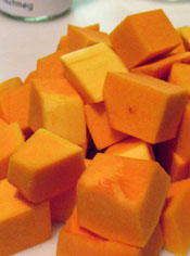 Cubes of Raw Butternut Squash