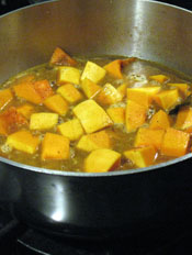 Squash With Seasonings and Stock Before Cooking