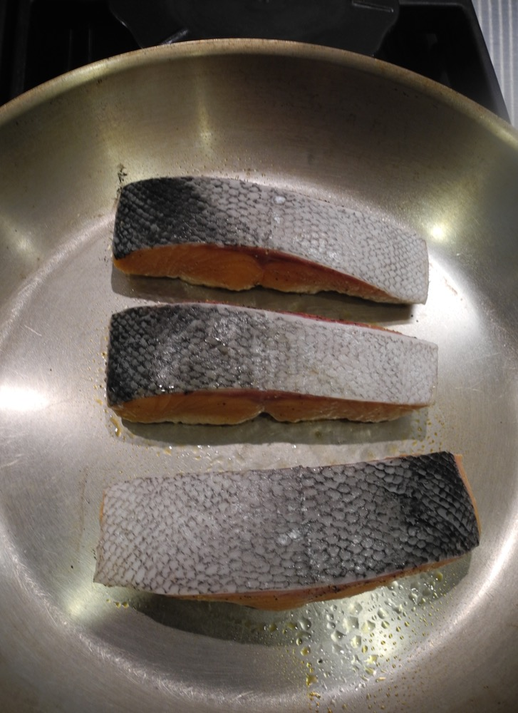 Fillets Cooking Skin-Side Up In Hot No-Oil Pan